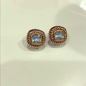 Blue silver and gold earrings - beautiful